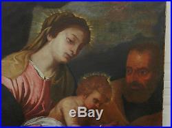 Antique Italian Old Master Painting Holy Family St John Baptist Mary 1600s