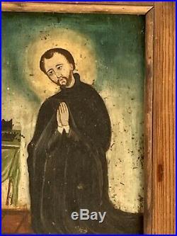 Antique Jesuit St. Ignatius Loyola Retablo Painting Spanish Colonial New Mexico