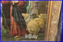 Antique Jesus Christ Religious Christianity Framed Print-Jesus Holding Lamb