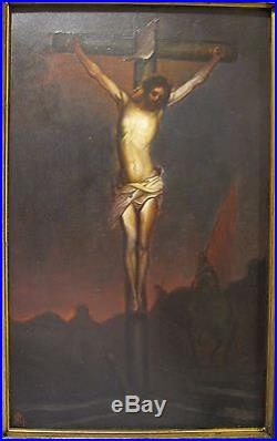 Antique Jesus On Cross Religious Oil Painting Artist Monogram Fine Art Decorate