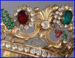 Antique Jeweled Santos Crown French Baroque Tiara Religious Catholic