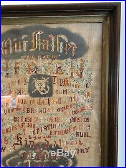 Antique Large Framed 1890s Victorian Religious Sampler The Lords Prayer