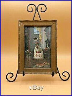 Antique Leonardo de Mango Oil on Board Painting At Prayer Signed & Dated