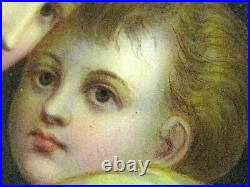 Antique MARY and JESUS Old PORCELAIN Portrait Plaque PAINTING Tile WOOD FRAME
