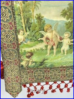 Antique Madonna, Child & Angels Hand Painted Italian Woven Tapestry 19th Century