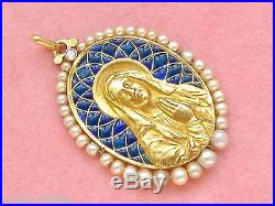 Antique Madonna Praying Virgin Mary 18k Religious Pendant 1920 French Sellier