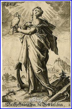 Antique Master Print-ALLEGORY-HOPE-ANCHOR-FALCONRY-Matham-Goltzius-ca. 1620