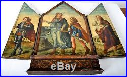 Antique Netherlandish 16th century Old Master Religious triptych painting 1600