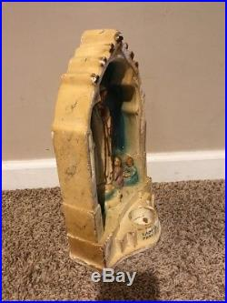 Antique Our Lady Of Fatima Statue Altar Candle Holder