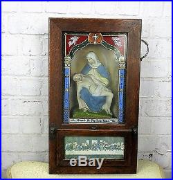 Antique Oak religious cabinet Removable Candle holders Pieta Last Supper