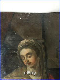 Antique Oil Copper painting 17th century Portrait Madonna and child SASSOFERRATO