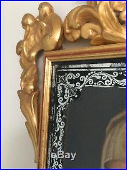 Antique Oil Painting 17th Century Religious Madonna Baroque Italian
