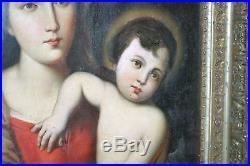 Antique Oil Painting, Madonna And Child, Original Gilded Frame, Circa 1800