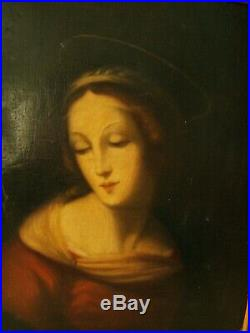 Antique Oil Painting Mary With Halo Signed