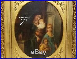 Antique Oil Painting Religious Rosary Latin French Inscription STUNNING FRAME