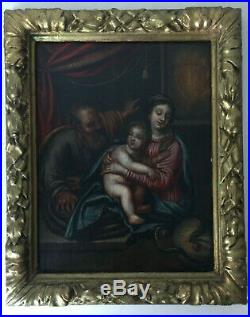 Antique Oil panel painting 18th century Portrait Madonna Child and Snake MIGNARD