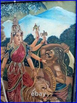 Antique Old Artist Hand Goddess Ambey Sherawali Mata Worship Painting On Board