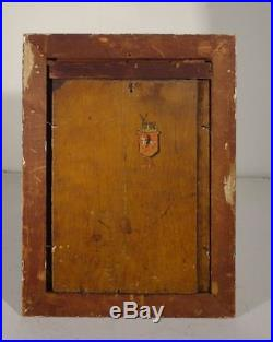 Antique Old Master Oil Panel Jesus Christ Crucifixion Family Crest Renaissance