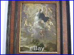 Antique Old Master Painting Madonna Angels Heaven Religious Icon On Metal Signed