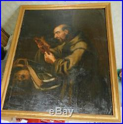 Antique Old Master Painting St. Francis Asissi 18th Century Italian Hermit Skull