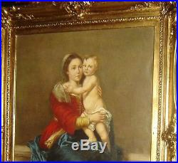 Antique Old Masters Religious Madonna & Child Painting After Bartolome Murillo