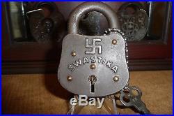 Antique Padlock Ancient Religious & Good Luck Symbol Lock
