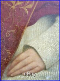 Antique Painting Portrait of Pope Pius IX Oil Canvas Original Old Vintage