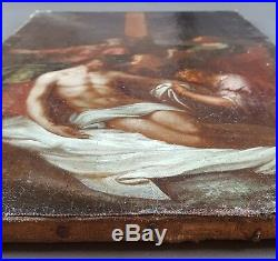 Antique Painting The Deposition from the Cross Oil Canvas Original Vintage Old