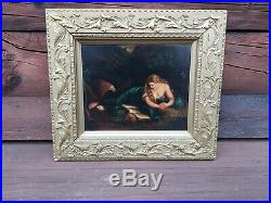 Antique Painting on metal The Pentitent Mary Magdalene, after Pompeo Batoni