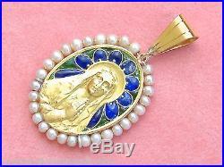 Antique Plique-a-jour Praying Virgin Mary Religious 18k Pendant Sellier 1910