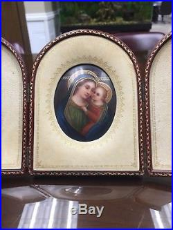 Antique Porcelain Miniature Painting of Madonna and Child with Leather display