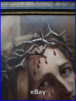 Antique Pre-Raphaelite Oil Painting of Christ with Crown of Thorns by AUDOIRE