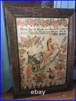 Antique Primitive Kurbits Swedish Folk Art Religious Elijah Chariot of Fire Dala