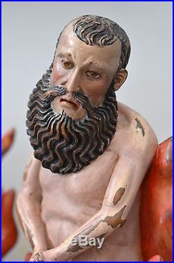 Antique Purgatory Hard Wood Sculptures Animas