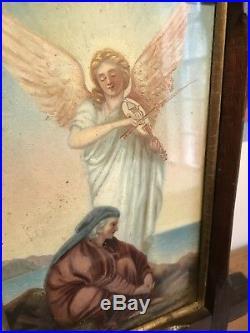 Antique Religious Angel Shepherd Jesus Prayer Old Victorian Oil Painting