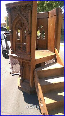 Antique Religious Cathedral Interior Church Gothic Pulpit 19th Century MakeOFFER