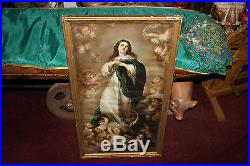 Antique Religious Christianity Framed Print-Virgin Mother Mary Angels Cherubs