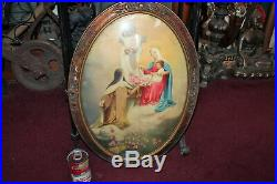 Antique Religious Christianity Print Oval Convex Frame Flowers Jesus Christ Mary