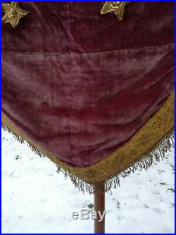 Antique Religious Church Processional Banner Flag With Metallic Fringe St Roque