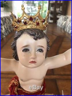 Antique Religious Crying Baby Jesus Infant Of Prague Santo Nino Angels Figurine