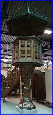 Antique Religious French Gothic Pulpit MAGNIFICENT Model 19th Century in Oak