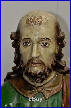 Antique Religious French Statue of St. Peter Hand Carved Wood