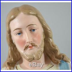 Antique Religious Hand Painted Bisque & Porcelain Jesus Statue