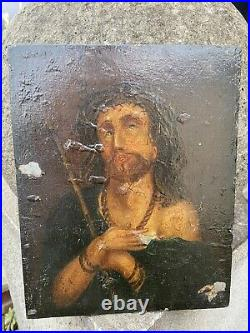 Antique Religious Icon Jesus Oil On Wood Panel