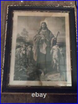 Antique Religious Jesus The Good Shepard 1800s Plockhorst Print Original Frame