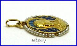 Antique Religious Pendant in 18k Gold, French Plique A Jour, Sea Pearl &Diamond