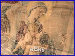 Antique Religious Silkscreen Wall Hanging Mary Child Metalwork Tapestry Trim #E