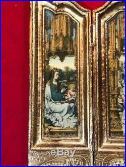 Antique Religious Triptych Italian Florentine Travel Icon Vintage 1900's LARGE
