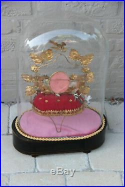 Antique Religious Victorian Wedding bridal dome globe with inside decoration