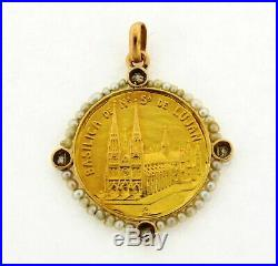 Antique Religious Virgin Mary Basilica Church Diamond Pearl 18K Gold Pendant